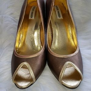 Steve madden pumps bronze gold womens 10 peeptoe